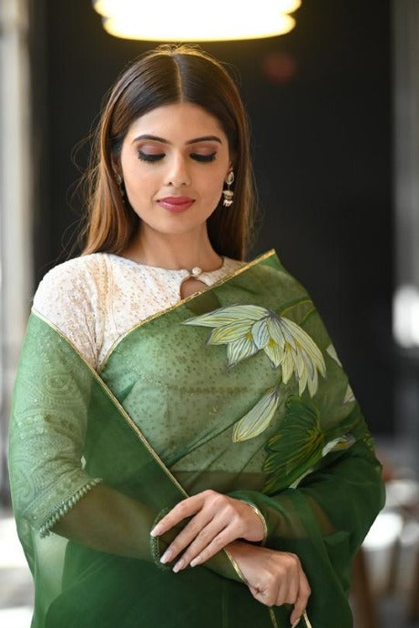 Admirable Green Color Designer Saree