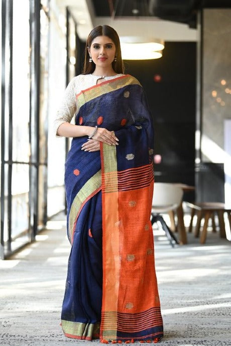 Alluring Blue Color Soft Khadi Silk Designer Saree