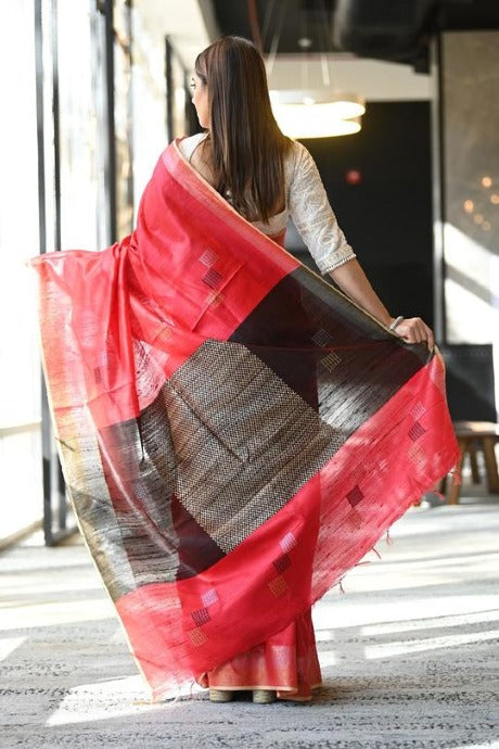 Red N Black Color Linen Saree