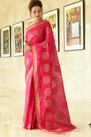 Adorning Red Color Hand loom Soft Cotton Silk Designer Saree