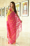 Yellow Color Party Wear Hand Weaving Soft Cotton Silk Designer Saree