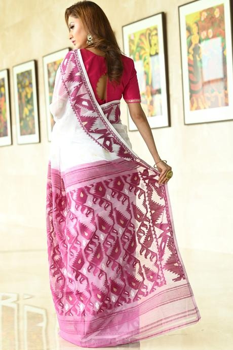 Awesome White Color Linen Designer Soft Cotton Saree
