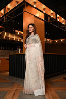 Awesome White Color Linen Designer Soft Organza Cotton Saree