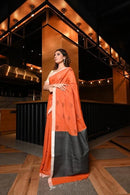 Unique Orange Color Designer Cotton Soft Silk Saree