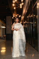 Appealing White Color Cotton Linen Designer Digital Print Saree