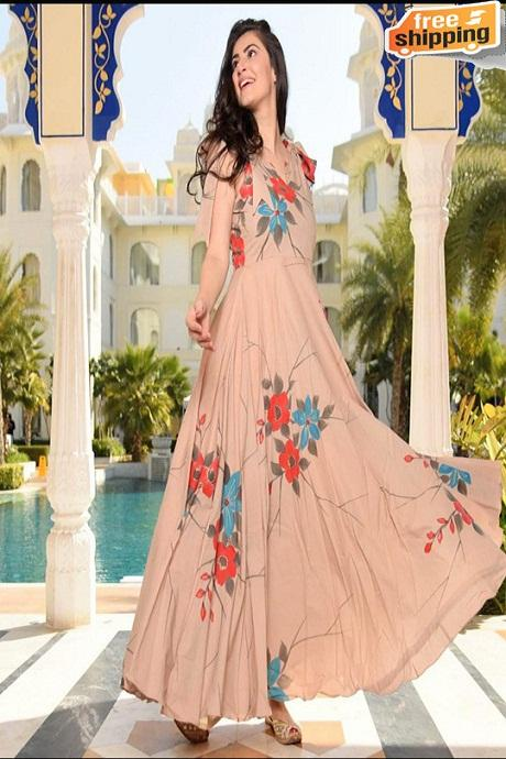 Pure Cotton Silk Printed and Hand Work Latest Designer Gown