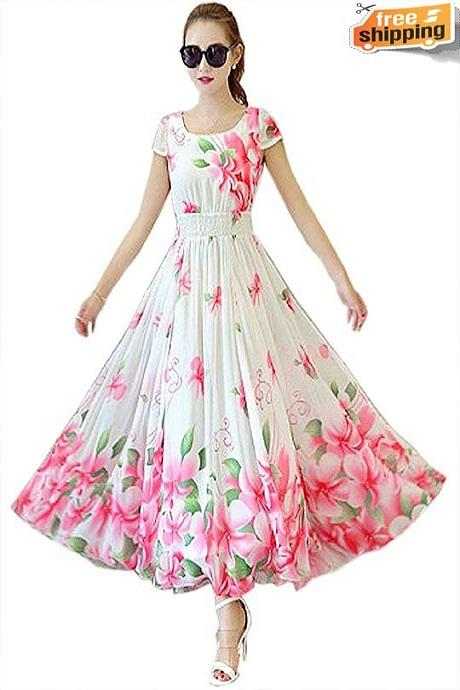 Pure Gorgette Floral Printed Latest Designer Pink Gown