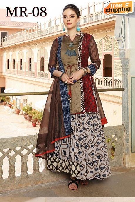 Womens Beautiful Fashionable Pure Cotton Silk Printed and Hand Work Latest Designer Kurti