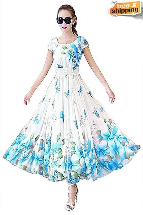 Pure Gorgette Floral Printed Latest Designer Blue Gown