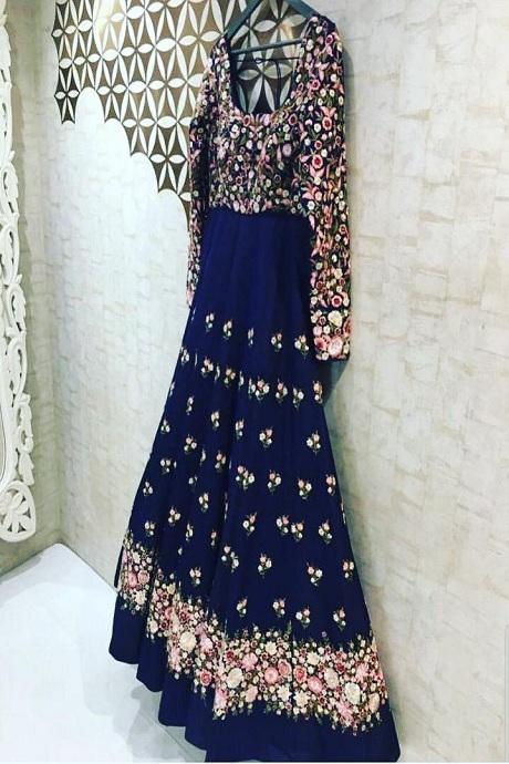 Amazing Royal Blue Color Round Flair Gown