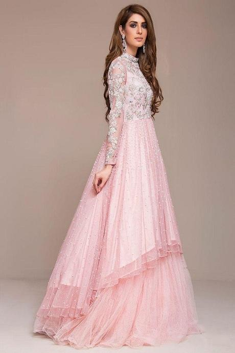 Designer Baby Pink Color Net Gown