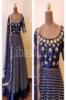 Ambrosial Royal Blue Color Anarkali Designer Gown