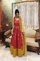 Stylish Soft Silk Red color Anarkali Flared Gown