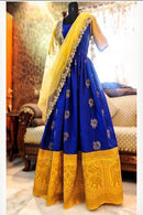 Stylish Soft Silk Royal Blue color Anarkali Flared Gown
