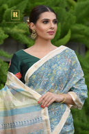 Acractive Light Grey Colour Soft Silk Lenen Saree