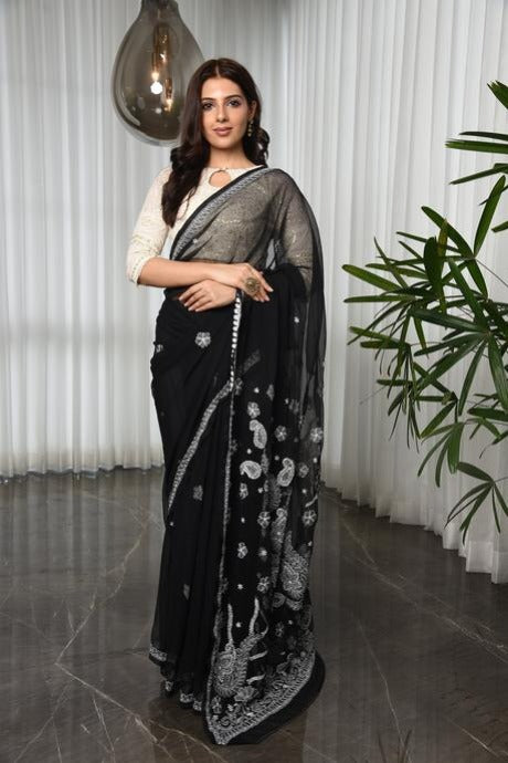 Attractive Black Colour Soft Silk Linen Saree By Shulabh