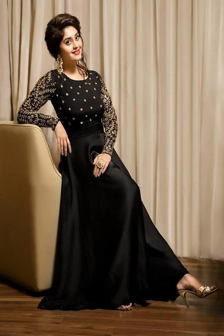 Stylish Soft Silk Black color Anarkali Flared Gown