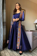 Stylish Soft Silk R Blue color Anarkali Flared Gown