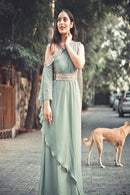 Admiring Light C Green Color Designer Gown