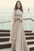 Alluring Light Chiku Color Designer Gown