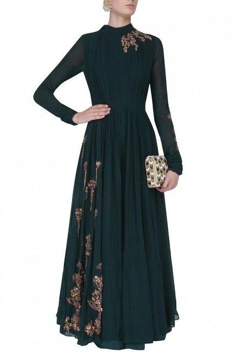 Alluring Dark Blue Color Designer Gown
