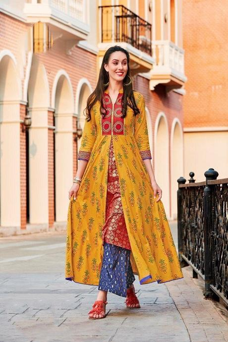 Attractive Designer Soft Multi Color Anarkali Flared Gown Type Kurti