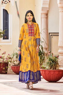 Attractive Yellow Color Designer Gown Type Kurti