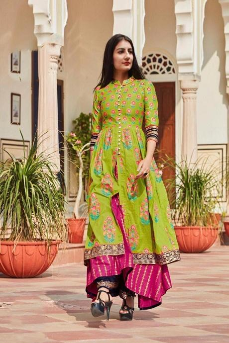 Attractive Light Perot Color Designer Gown Type Kurti