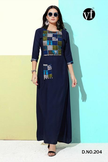 Attractive Navy Blue Color Designer Gown Type Kurti