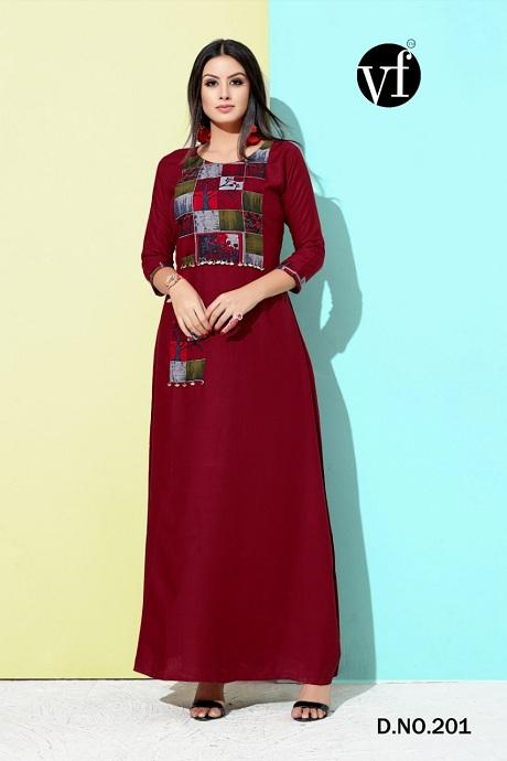 Attractive Maroon Color Designer Gown Type Kurti