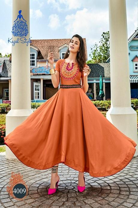 Attractive M Yellow Color Designer Gown Type Kurti