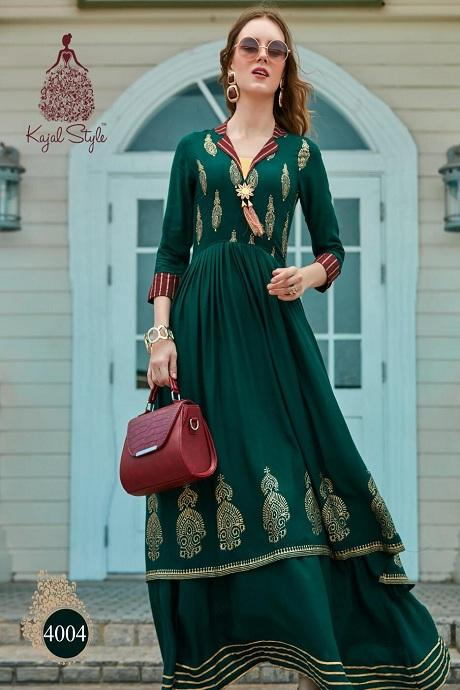 Attractive Royal Green Color Designer Gown Type Kurti