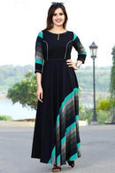 Bewitching Ready Black Colored Stylish Gown Type Kurti