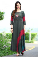 Bewitching Multi Colored Stylish Gown Type Kurti