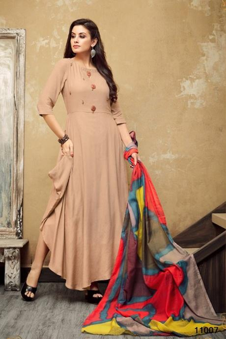 Amazing Chiku Colored Soft Reyon Gown Type Kurti