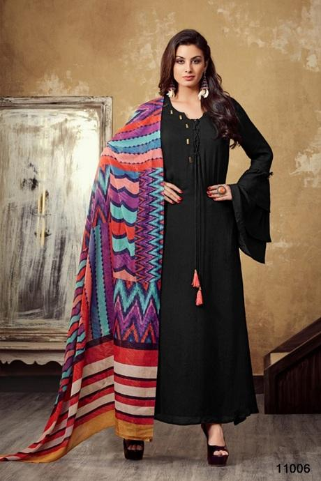 Amazing Royal Navy Black Colored Gown Type Kurti