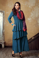 Attractive Blue Color Designer Gown Type Kurti