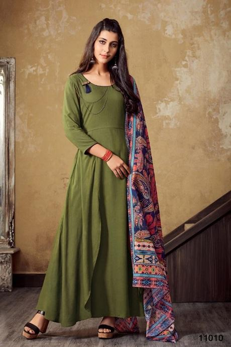 Attractive Green Color Designer Workable Gown Type Kurti