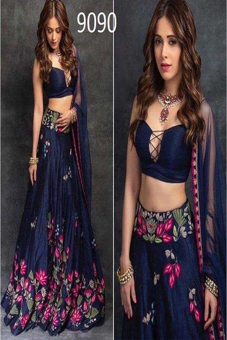 Appealing Navy Blue Colored Bridal Embroidered Lehenga Choli