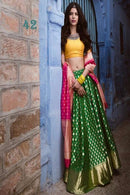Art Silk Green Turquoise Embroidered Semi Stitched Lehenga