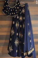 Attractive Navy Blue Colour Embroidery Work Lehenga Choli