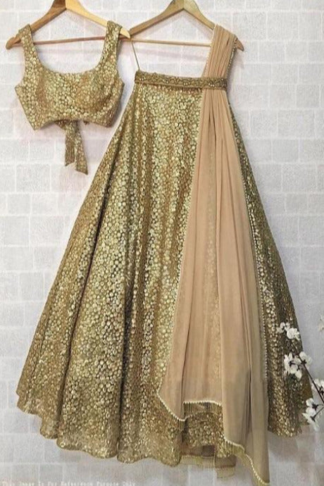 Attractive Golden Colour  Embroidery Work Silk Lehenga Choli