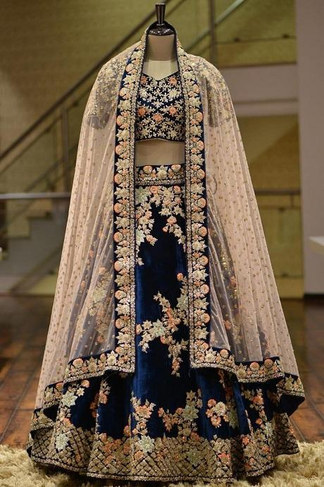 Attractive Navy Blue Embroidery Work Circular Lehenga Choli