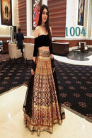 Irresistible Black Colored Silk Lehenga Choli