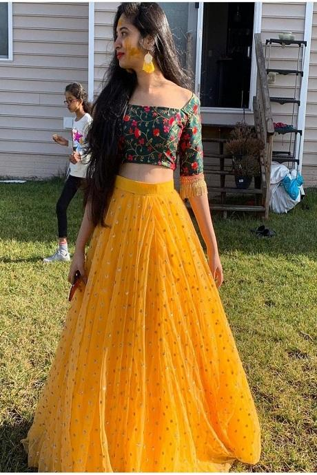 Captivating Yellow Colored Designer Lehenga Choli