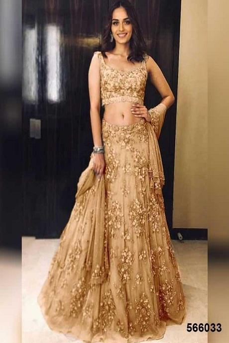 Attractive Chiku Colored Soft Silk Lehenga Choli