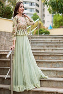 AttractiveC Green Soft Georgette Circular Lehenga Choli