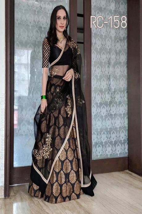 Black Embroidered Attractive Party Wear Lehenga Choli