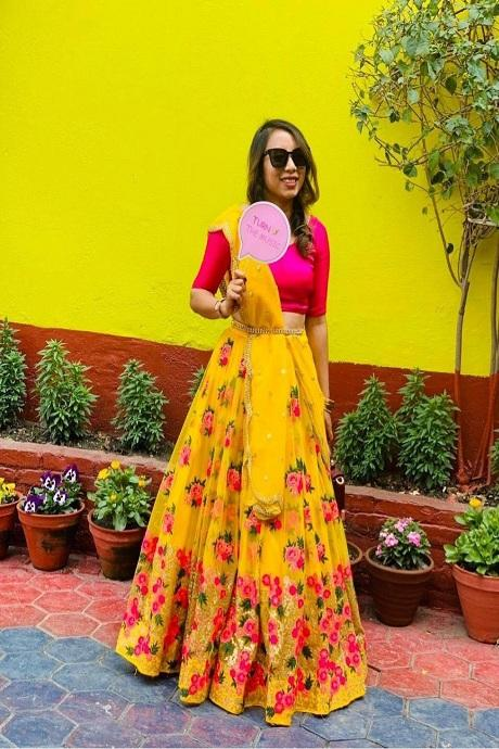 Blissful Yellow Colored Soft Net Lehenga Choli