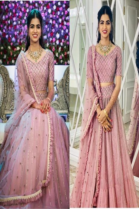 Sky Pink Embroidered Attractive Party Wear Lehenga Choli
